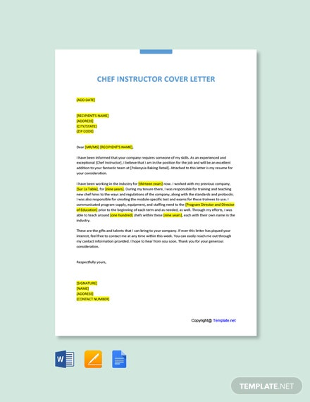 Free Chef Instructor Cover Letter Template