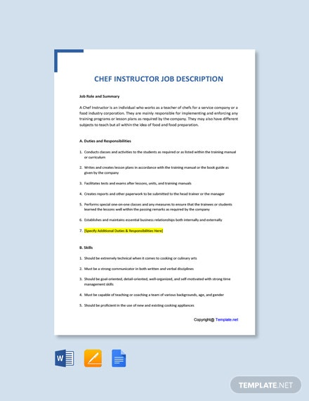 Free Chef Instructor Job Ad and Description Template