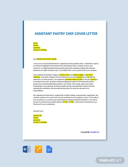 Free Assistant Pastry Chef Cover Letter Template
