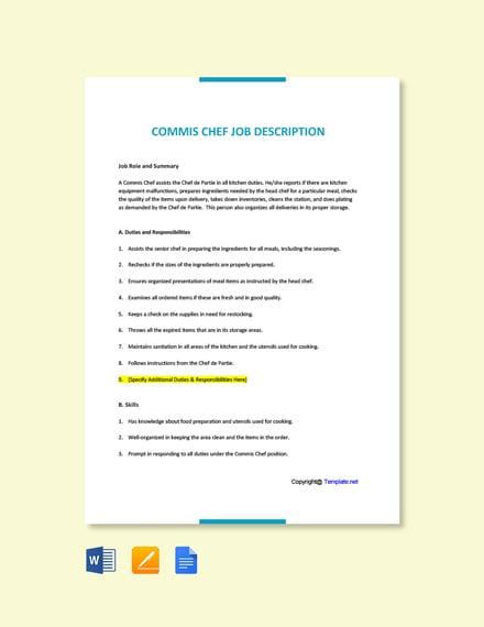 Free Commis Chef Job Ad and Description Template