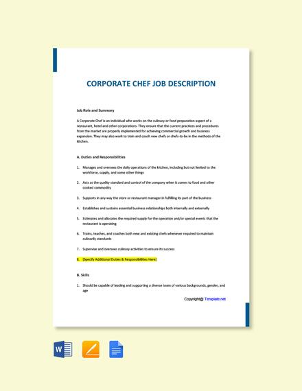 Free Corporate Chef Job Ad and Description Template