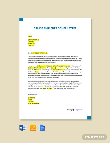 Cruise Ship Chef Cover Letter Template Free Pdf Google Docs Word Template Net