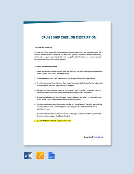 Free Cruise Ship Chef Job Ad and Description Template