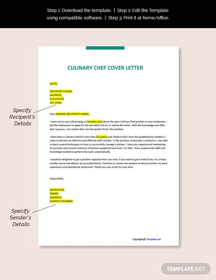 Culinary Chef Cover Letter Template