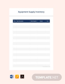 Free Equipment Supply Inventory Template