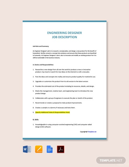 Free Engineering Designer Job Ad and Description Template