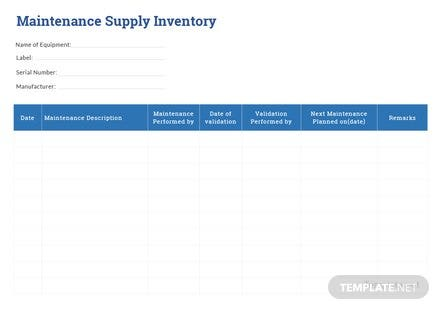 Maintenance Supply Inventory Template