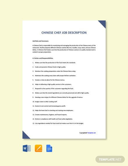 Free Chinese Chef Job Ad and Description Template