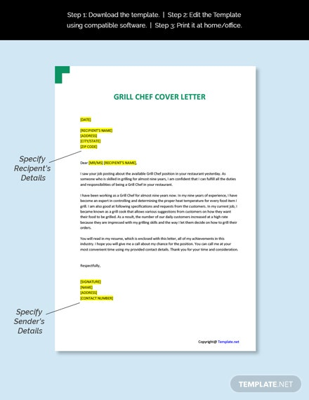 Grill Chef Cover Letter Template