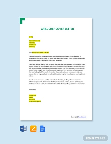 Grill Chef Cover Letter Template Free Pdf Google Docs Word Template Net