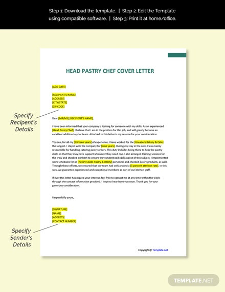 Head Pastry Chef Cover Letter Template
