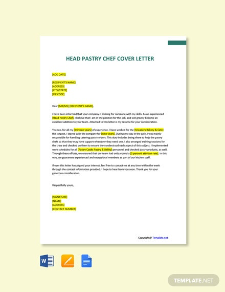 Head Pastry Chef Cover Letter