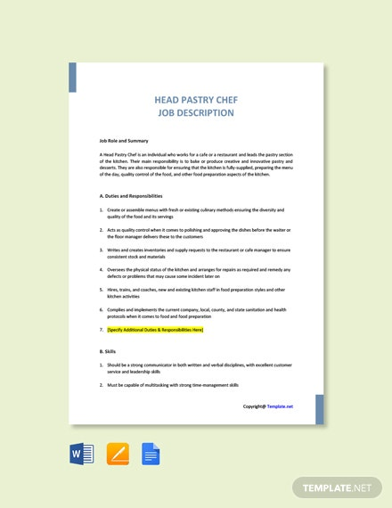 Free Head Pastry Chef Job Ad and Description Template
