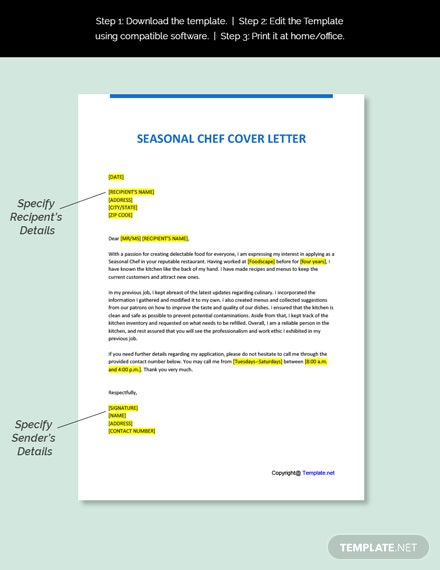 Seasonal Chef Cover Letter Template