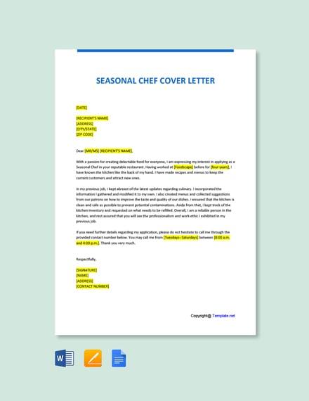 Seasonal Chef Cover Letter