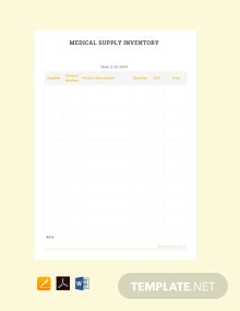 Free Medical Supply Inventory Template