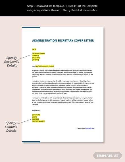 Administration Secretary Cover Letter Template