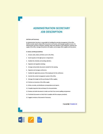 Free Administration Secretary Job Ad and Description Template