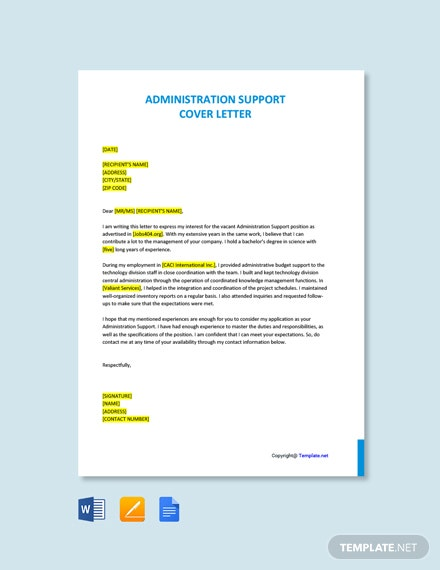 Free Administration Support Cover Letter Template