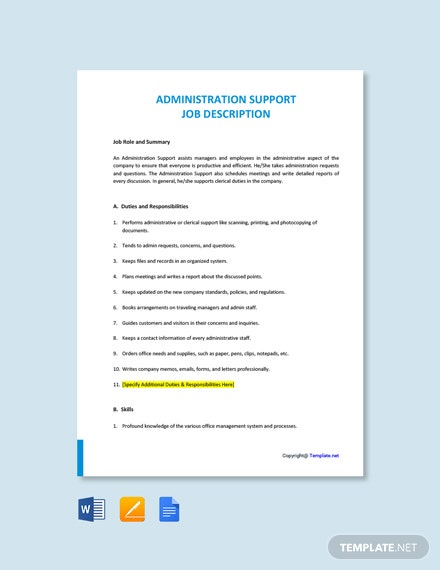 Free Administration Support Job Ad and Description Template