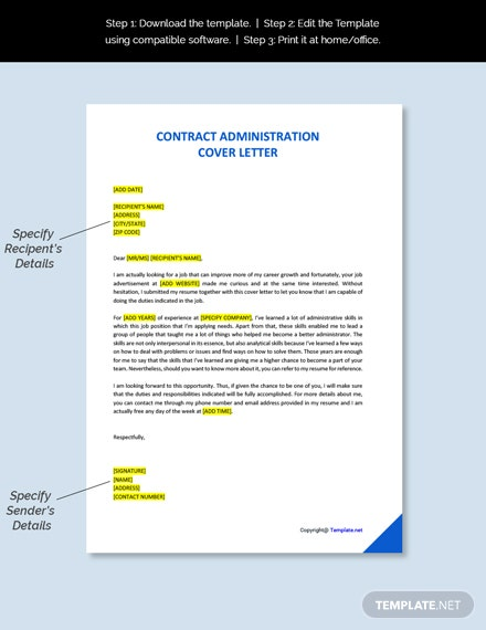 Contract Administration Cover Letter Template