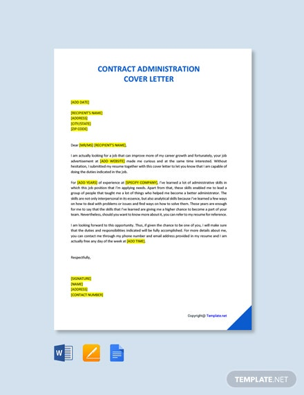 Free Contract Administration Cover Letter Template