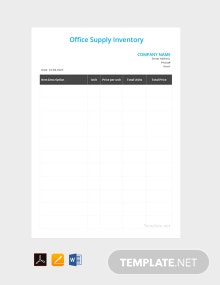 Free Office Supply Inventory Template