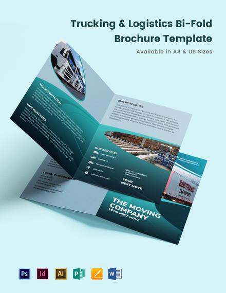 Trucking Logistics Bi-Fold Brochure Template