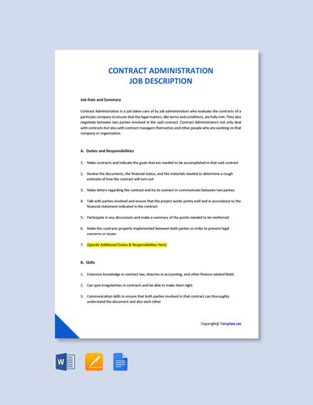 Free Contract Administration Job Description Template