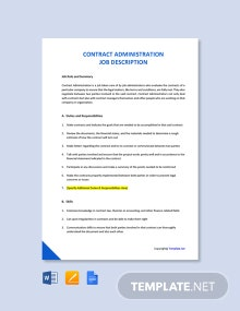 Free Contract Administration Job Description Template
