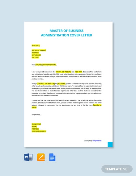 Free Master of Business Administration Cover Letter Template