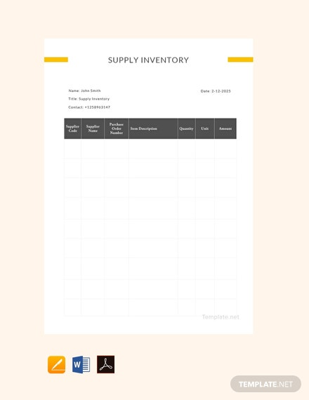 Free Sample Supply Inventory Template