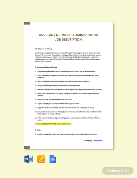 Free Assistant Network Administrator Job Description Template