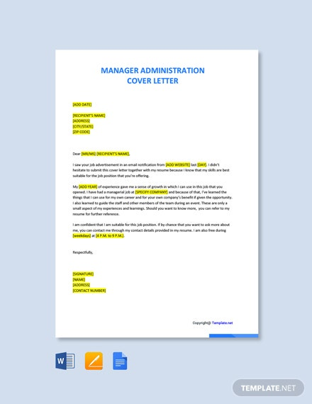 Free Manager Administration Cover Letter Template