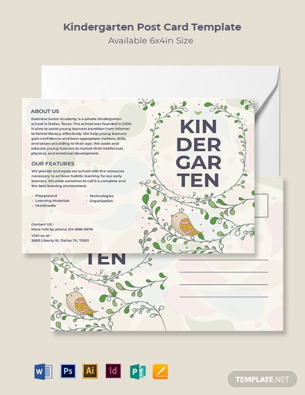 Kindergarten Post Card Template