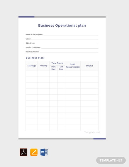 free business operational plan template download 56 plans in word