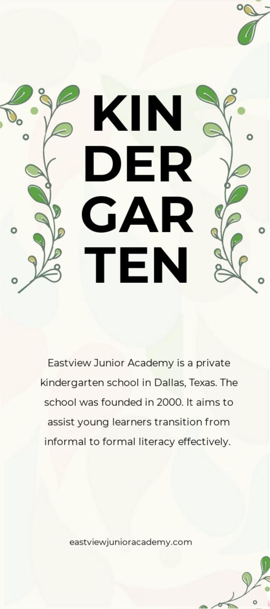 Kindergarten Rackcard Template