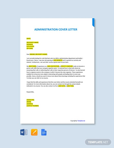 Free Administration Cover Letter Template