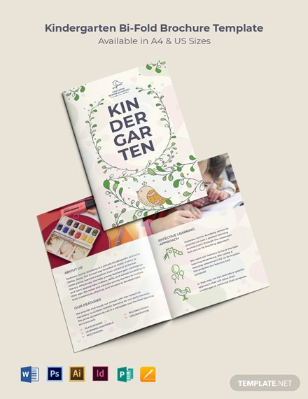 Kindergarten Bi-Fold Brochure Template