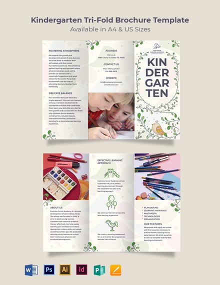 Kindergarten Tri-Fold Brochure Template