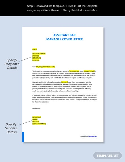 Assistant Bar Manager Cover Letter Template