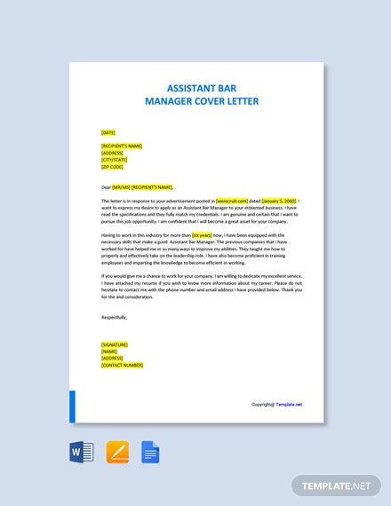 Assistant Bar Manager Cover Letter