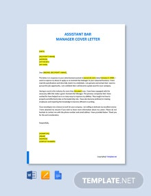 Free Assistant Bar Manager Cover Letter Template