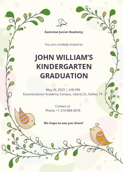 Kindergarten Invitation Template