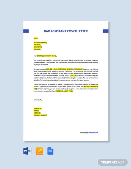 Free Bar Assistant Cover Letter Template