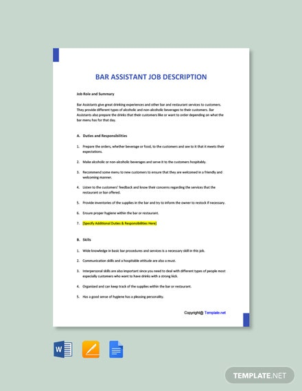 Free Bar Assistant Job Description Template