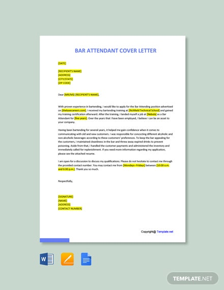 Free Bar Attendant Cover Letter Template