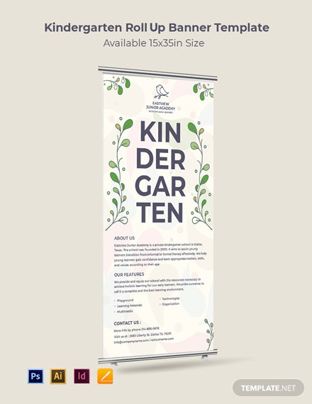 Kindergarten Roll Up Banner Template