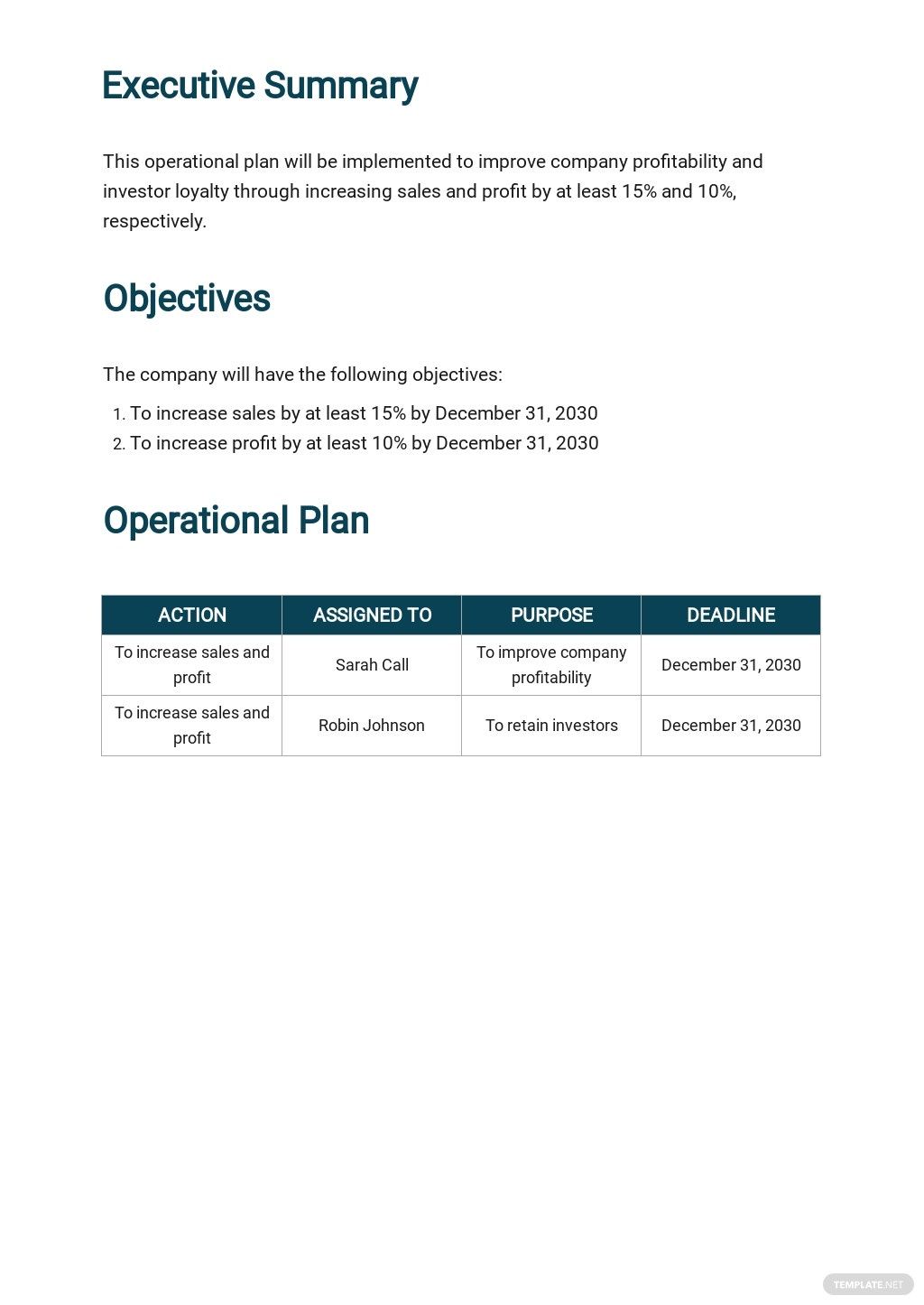 Free Sample Operational Plan Template 1.jpe