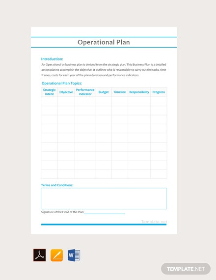 Free Sample Operational Plan Template